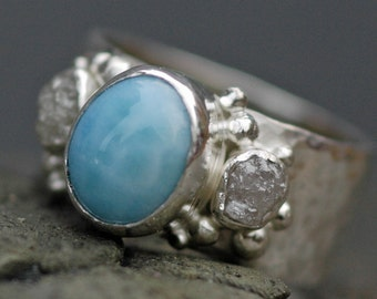 Sky Blue Larimar and Raw Diamonds in Hammered Sterling Silver Ring- Custom Made