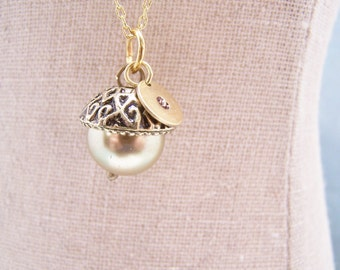 ONE Personalized Pearl Acorn Necklace in Buttercup Yellow. Bridesmaid. Friendship. Love. Peter Pan. Wendy. Kiss
