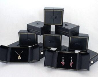 Very Elegant Double Door Pendant/Earring Gift Boxes 12 Qty Black   SALE
