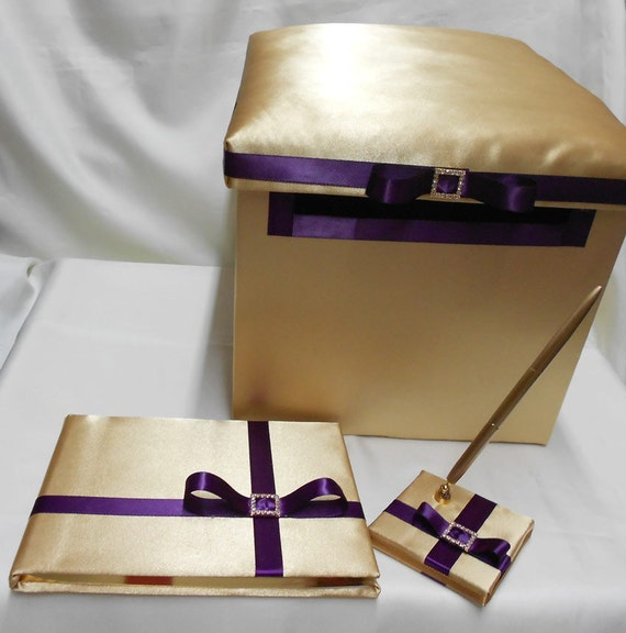Gold Eggplant Plum Purple Wedding Reception Card Money Boxes Guest Book Pen Set Your Colors weddingsbyminali