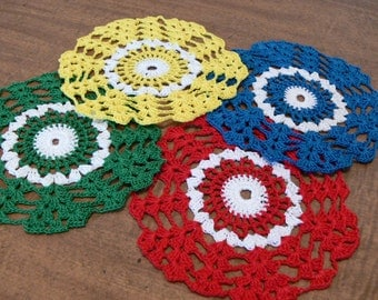Hand Crocheted Drink Coasters - red, blue, yellow, and green - Party, Shower, tea party, birthday partyer, Gift
