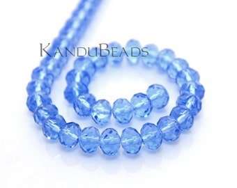 """Sky Blue Faceted crystal roundel beads 4x6 mm 15"""" strand"""