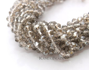 """Light Smoky Quartz Gray Brown Color Faceted crystal roundel beads 4x6 mm 15"""" strand"""