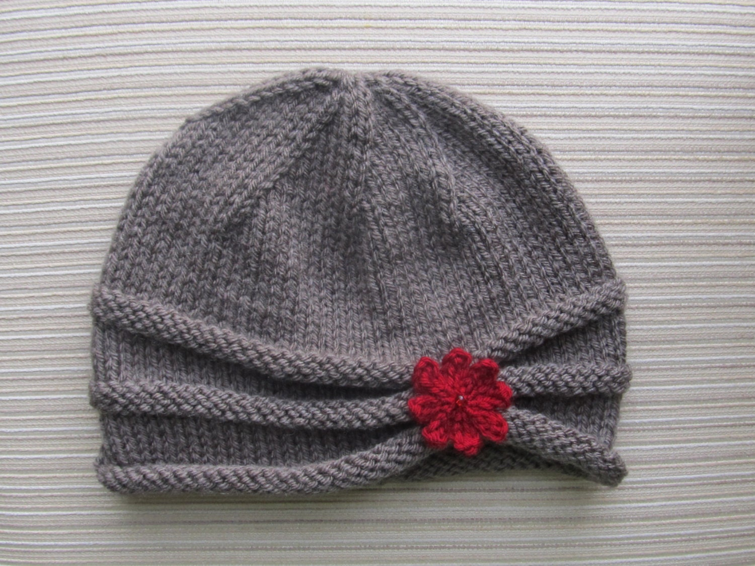 Knitting Pattern Rolled Brim Hat in Size Adult #87 from handknitsbyElena on E...