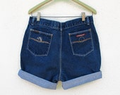 Vintage Jordache Zip Fly Shorts Really High Waist Hipster Jeans Blue Denim W 31 32 cut-off shorts Roll Up USA