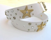 80s Leather Belt, Studded Sea Goddess Belt Dolphins Sea Stars White Gold S to M