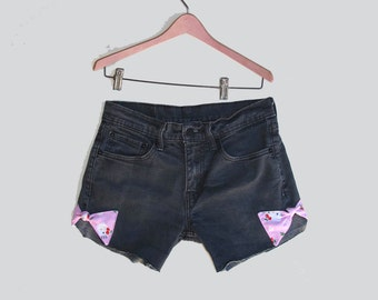 Levi's 511 Faded Black Shorts Mid Rise Hello Kitty Bows Zip Fly Stretch Jeans W 30 Shorties