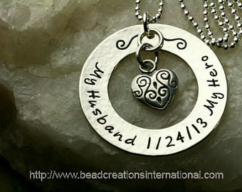 My Husband My Hero with Date Loss Hand Stamped Necklace