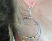 Recycled Bass Strings - Restored Bass String Concentric Circles Earrings with Recycled Guitar string Accents