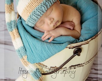 Baby Tail Pom Hat, Newborn Photo Prop, knit, dusty aqua, tan, cream