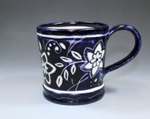Handmade Pottery Mug, Dark Cobalt and White Coffee Mug SKU133-3