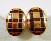 Vintage Berebi Earrings Clip Goldtone Egg Pink Teal Black Enamel