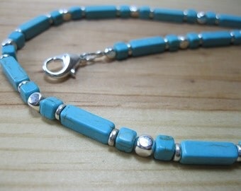 Blue Turquoise, Silver Necklace, Tribal Necklace, Mens Beaded Necklace, Womens Native Necklace, Ethnic Necklace, Turquoise Necklace
