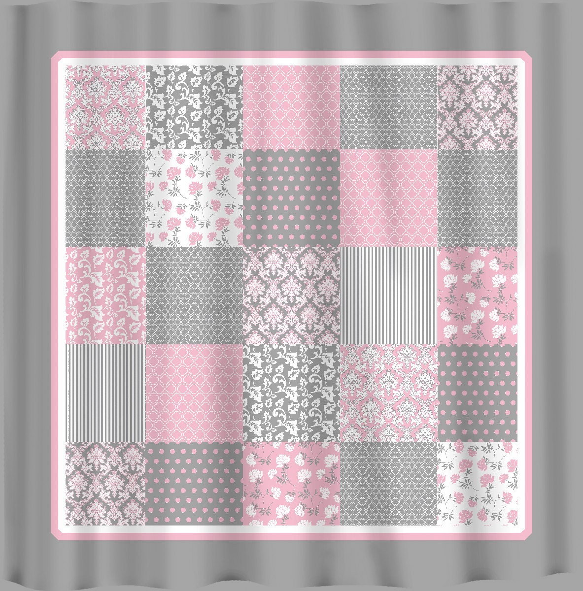 French Country Patchwork Shower Curtain Pink Grey By Redbeauty