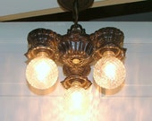 Antique Lighting Ceiling Fixture Vintage Welsbach Cast Iron 3 Light Bulb Hanging Pendant Lamp