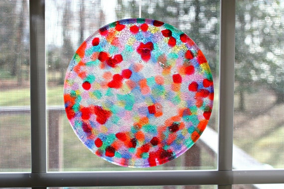 Suncatcher Unique Mosaic - Over The Rainbow Hand Crafted Large 6 inch Disk all ready for display by Mei Faith