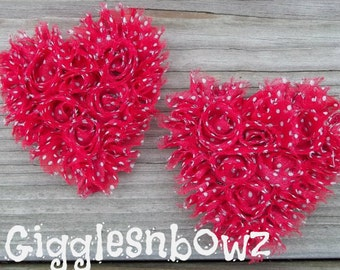 NeW SMaLLeR SiZE- Set of 2 Beautiful Shabby Chic Chiffon HEART Appliques- RED w WHiTE DoTS  3 inch