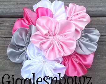 Single AMAZiNG Satin CLuSTeR Flower- SPRiNG Pink, Hot Pink, Silver, White- 4 inch