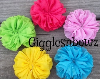 Set of 5- BRiGHT CoLLeCTiON FLuFFy CHiFFoN TWIRL Flowers 2.25-2.5 inch