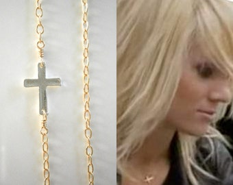 Sideways Cross Necklace, Mixed Metal Necklace, Petite Silver Cross Version, Celebrity Inspired Jewelry