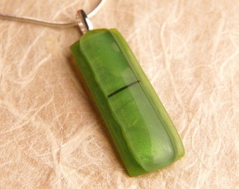 New Handmade Dichroic Silver Glass Pendant Necklace ...with chain...