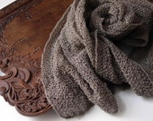 Hand knitted scarf  from natural, not dyed linen.  A stem of flax. Ready to ship.