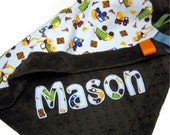Truck Boy Blanket - Construction Zone Minky Lovie, baby boy security blanket, lovey, applique name embroidery, dump truck, blue, tractor