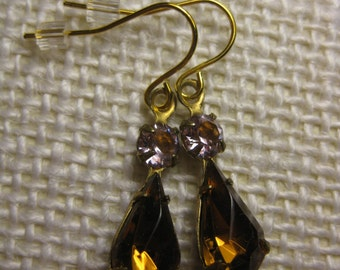 Topaz & Amethyst Earrings, Vintage Rhinestone Earrings