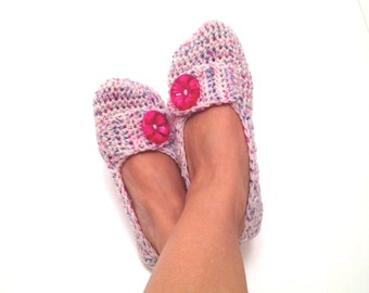 Pink Blue Tweed With Hot Pink Button Crochet Womens Slippers, Ballet Flats, House Shoes