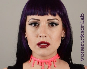 Creepy Cute large Blood drip pink choker Gothic Lolita Necklace