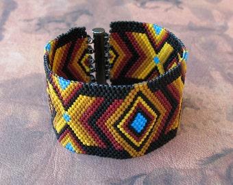 Southwestern 'Painted Desert' Woven Bead Cuff Bracelet