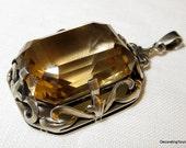 Art Nouveau German 835 Silver Citrine Pendant Necklace