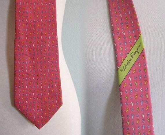 Vintage 1980s Necktie - Salvatore Ferragamo Pink Silk Tie with Tiny Sailboat Print - 80s Designer Tie