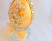 Jeweled Golden Egg on Crystal Stand, Easter Egg Decoration, Unique Easter Decor, Bling Egg