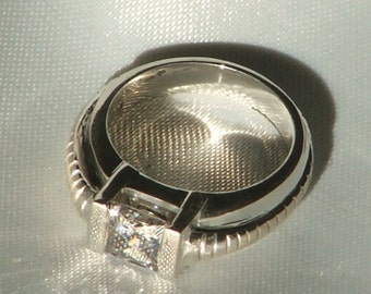 BIOMECHANICAL, SIMPLE No.2  Sterling Silver, Cubic Zirconia Man's/Woman's/Unisex Ring- Ready to ship size 7