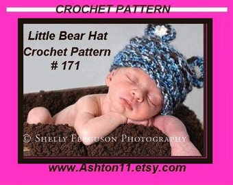 How to Crochet a Baby Hat -   Little Bear Crochet Pattern PDF 171 newborn to 1 year  diy handmade pattern