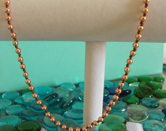 Preppy Rose Gold Beaded Knot Necklace - 5mm Bead Necklace - Rose Gold Necklace