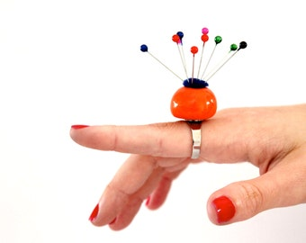 Pin Cushion Ring Ceramic Ring, sewing accessory, pin saver, needle and pin,  handmade by StudioLeanne