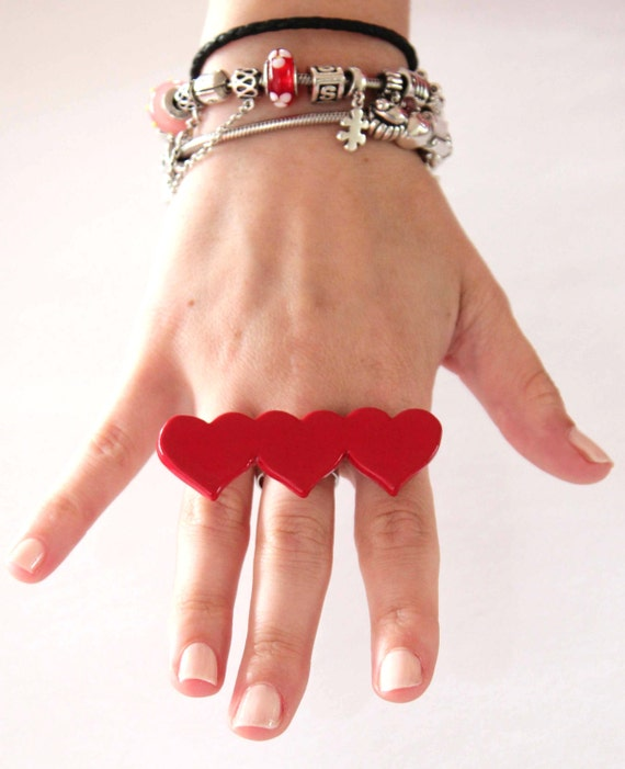 Statement Heart Ring Ceramic - big, bold, oversize handmade heart cocktail ring - LOTS OF LOVE -2.7 inch