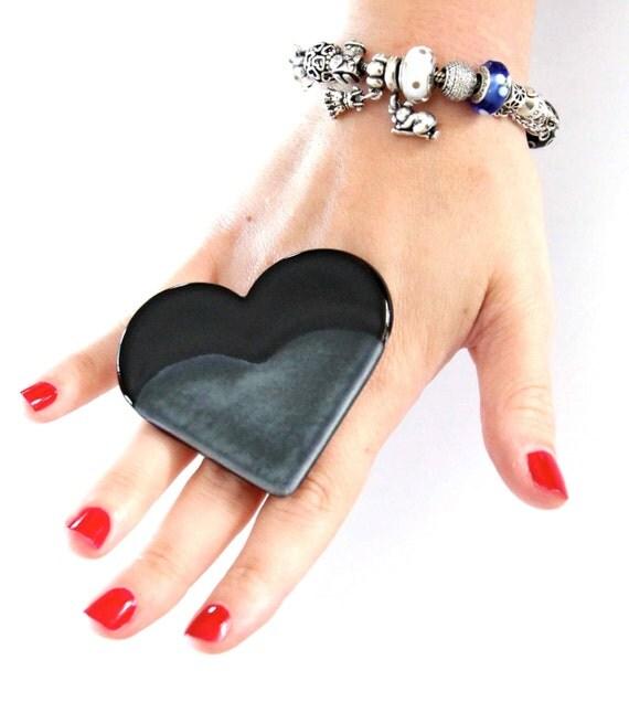 HEART Ring Ceramic  -  Avant Garde - oversized handmade adjustable cocktail ring - 2.5 inch