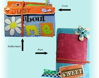 Mini Scrapbook, small Album, Pocket photo book, brag book, accordian scrapbookl, Colorful and Bright mini album, Baby book, Grandchild book