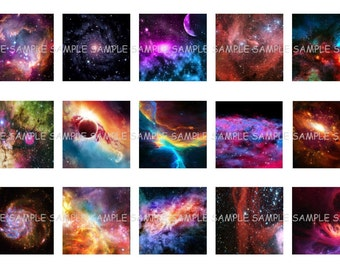 INSTANT DOWNLOAD...Colorful Galaxy...1 Inch Square Images Collage Sheet for Glass Pendants ...Buy 3 get 1