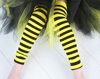 Black and Yellow Striped Girls Leg Warmers