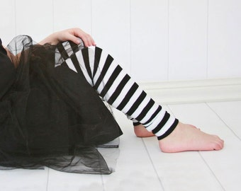 Black and White Striped Girls Halloween  Leg Warmers