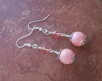 Swarovski Pink Coral Pearl & Rose Peach Crystal Earrings In Antique Silver