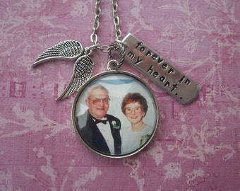 In Memory Necklace - Loved Ones In Remembrance - Custom Photo - Tree of Life - Antique Silver  - Angel Wings