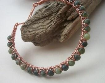Green Serpentine Gemstone & Copper Wire Wrapped Bangle Bracelet