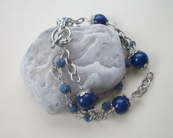 Lapis Pearl & Chain Raindrops Bracelet - Swarovski Dark Lapis Pearl And Marbled Blue Crystals, Antique Silver Chain