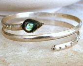 Snake Wrap Bracelet Alpaca Mexico Silver and Abalone