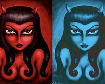 Red Hot/ Electric Blue big eye gothic seductive pin up devil woman stretched CANVAS print by Nina Friday